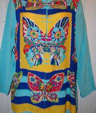 Diane Gilman~SM~ Silk~ Embellished Blue Butterfly Tunic