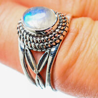 Rainbow Moonstone 925 Sterling Silver Ring Size 7.25 Ana Co Jewelry R25833F