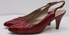 Salvatore FERRAGAMO Red Patent Leather Heels Made Italy SZ 9 AA Narrow 39 EU GUC