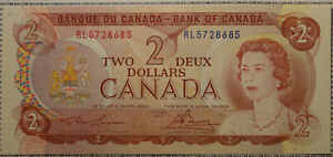 UNC 1974 Bank of Canada $2 2 Dollar paper money bank note