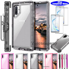 For Samsung Galaxy Note 10 Plus Clear Case w/ Kickstand Holster Clip Armor Cover