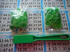 200 GREEN MAGNETIC BINGO CHIPS WITH A GREEN MAGNETIC BINGO WAND