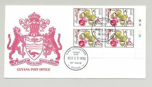 Guyana 1990 Butterflies 1v Cylinder Block of 4 with Red Inverted o/p on FDC
