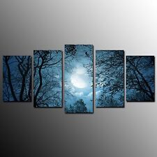 FRAMED Wall Art Canvas Painting Moon on Trees Canvas Print Art Decoration-5pcs