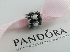 GENUINE AUTHENTIC PANDORA WHITE AGATE FORGET- ME -NOT CHARM AS NEW ALE 790470AGW