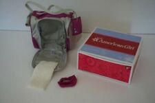 American Girl Pet Carrier Set Silver Purple Blanket Bowl Box Retired