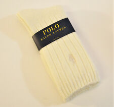 Ralph Lauren Ladies Socks Ribbed Wool Blend w/ Polo Pony Ivory - NEW