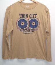 Cremieux Size XL TWIN CITY RECORDS Tan Chino Long Sleeve T-Shirt New Mens Shirt