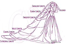 One Layer Pencil Edge Short Elbow Fingertip Chapel Cathedral Wedding Bridal Veil