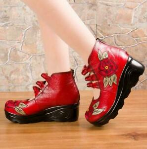 Retro Women's Chunky Heel Soft Leather Boots Flower Round Toe Non-slip Strappy