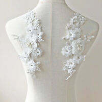 Off-White Beaded Flower Applique Embroidery Sewing Lace Patches for Costumes