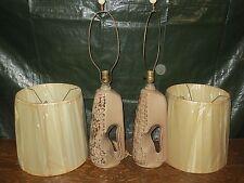 PAIR VINTAGE RETRO MID CENTURY  TABLE LAMPS & ORGINAL  SHADES