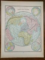 "GREATEST MASS LAND And WATER 1901 Vintage Atlas Map 11""x14"" Old Antique Original"