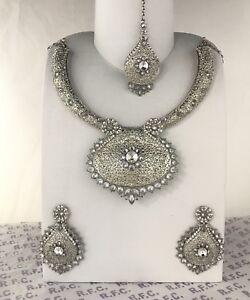 Silver traditional Indian mala pendant necklace earrings tikka kundan zirconia