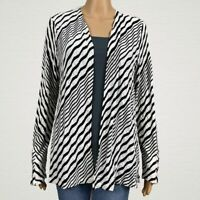 Chico's Travelers Textured Stripe Open Front Cardigan Jacket 1 MEDIUM 8 10
