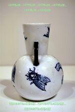 VASE 2 ANSES CIGOGNE IBIS GRILLON bleu de four art nouveau début 20è