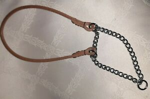 "HANDMADE ROUND FINE LEATHER MARTINGALE CHOKE Show COLLAR 8"" TO 12"" CHESTNUT TAN"