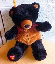 Dakin Teddy Bear stuffed black plush w/ plaid bow-tie Applause doll