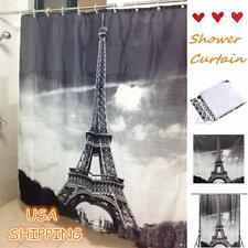 Waterproof Paris Eiffel Tower Bathroom Shower Curtain Polyester Fabric&12 Hooks