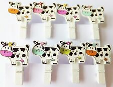 8Pcs Mini Wooden Assorted Cows on white peg, cards-crafts-Photo Clips- 35mm. UK