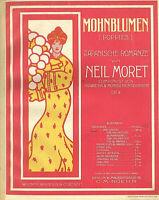 """"""" Mohnblumen - japanische Romance  """" von Neil Moret,  übergroße, alte Noten"""