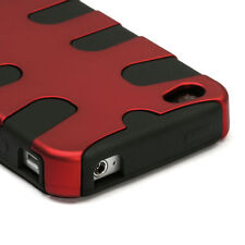 For iPhone 4 4S Rubberized Hybrid FISHBONE Silicone Case Phone Cover Red Black