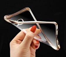 Samsung Galaxy S7 Edge Transparent Gold Trim Case +Free SC Protector USA Seller!