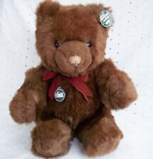 """TEDDY BEAR  CHOCOLATE BROWN BOW TIE SOFT CUDDLY SITTING DOWN BY GUND: 18"""""""