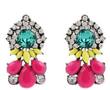 Hot Sell Fashion Colorful Resin Water Drop Crystal Flower Statement Stud Earring