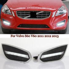 White DRL LED Daytime Running Light Fog Lamp Bezel For 2011-2013 Volvo S60 V60