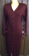 CAROLE LITTLE Vtg 80s Wool blend SWEATER DRESS LONG LENGTH MAXI SIZE M  BROWN
