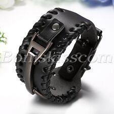 Men's Punk Retro Black Braided Leather Belt Buckle Bracelet Wide Cuff Adjustable