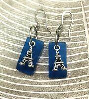 Sea Beach Blue Glass Dangle Earrings Eiffel Tower Surgical Steel Ear Wire