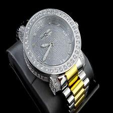 Mens 2 Tone Custom Khronos Diamond Gold Finish Full Stainless Steel Band Watch