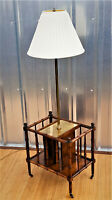 Frederick Cooper MCM Floor Table Lamp Magazine Rack Brass Faux Bamboo Vintage