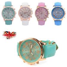 Geneva Leather Crystal Stone Jelly Analog Quartz Wrist Watch for Women UK stock