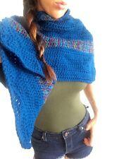 Winter Scarf Knitted Boho Poncho Wrap Shawl Thick Handmade Crochet Blue Jacket