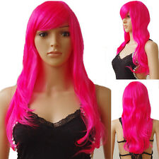 Womens Long Wavy Straight Hair Wig with Bangs Party Dress Synthetic Full Wigs 96