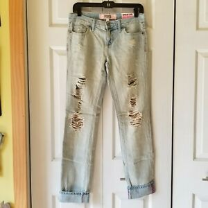 Victoria's Secret PINK sequin bling distressed denim skinny jeans