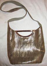 Stuart Weitzman metallic bronze gold python snake print shoulder baguette bag