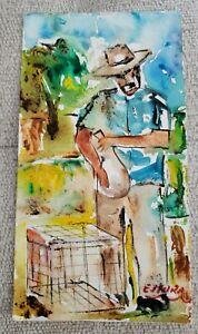 E. Mora, Signed Original Watercolor Puerto Rico Art, Irizarry Style Jibaro