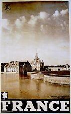 1930-50 French TRAVEL TOUR POSTER Photogravure CHATEAU DE CHANTILLY Affiche