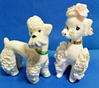 1 Spaghetti White Poodle & 1 Gobel Puppy Dogs Vintage Figurines #4