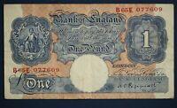 "1940 British Bank of England £1, Banknote, Peppiatt Prefix ""B65E"" [16815]"