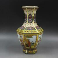 China Qing Dynasty Porcelain Colour Enamels Flower Bird Character Six Sides Vase