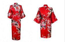 Women's Plain Silk Satin_Robes Bridal Wedding Bridesmaid Bride.Gown Kimono Robe+