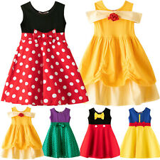 Kids Girls Cute Mickey Mouse Party Sleeveless Dress Tutu Spotted Bow Sundress
