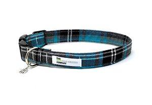 Tartan Collar, Turquoise and Grey Tartan, Adjustable Dog Collar