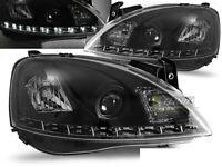 Coppia di Fari Anteriori LED DRL Look per Opel CORSA C 2000-2006 Daylight Neri I