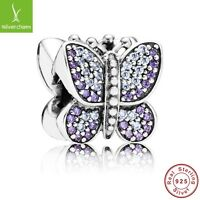 New 925 Silver Sterling purple Sparkling pave butterfly Charm+gold gift box xmas